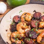 Rum Flambéed Spicy Shrimp and Chorizo