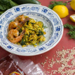 Lemony Spinach Brown Rice with Seared Shrimp